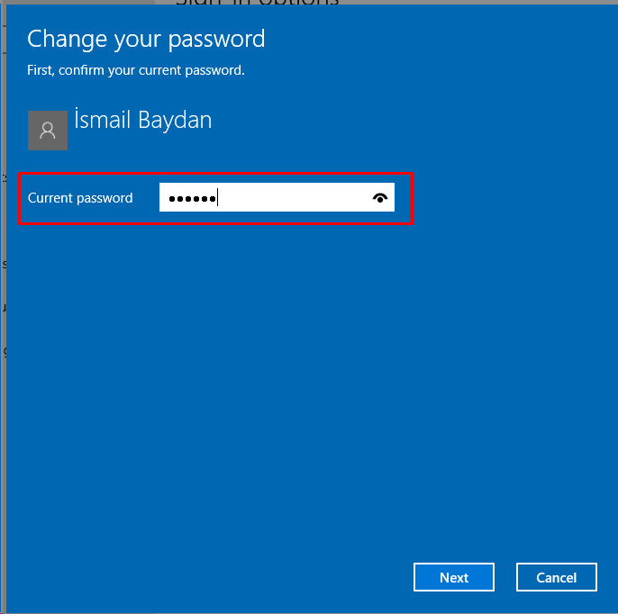 Provide Current Password